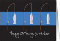 Happy Birthday for Son-in-Law, Fishing Rods and Fish card