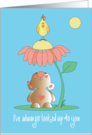 Mother's Day Bear with Flower Bouquet, Wishing Joy card