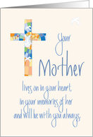 Sympathy for Loss of Mother, Stained Glass Cross with Dove card