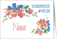 Grandparent's Day for Nana, Cheerful Flowers with Hearts card