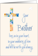 Sympathy in Loss of Brother, Stained Glass Cross and Dove card