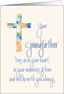 Sympathy in Loss of Grandfather, Stained Glass Cross card