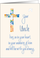 Sympathy in Loss of Uncle, Stained Glass Cross card