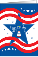 Birthday for Armed & Military Service, Stars, Stripes and Cake card