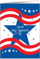 Thank You for Military Service, Blue Stars, Red & White Stripes card