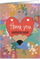 Thank you to Kindergarten Teacher, Colorful Crayon Flowers card