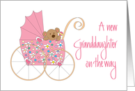 New Granddaughter on the Way, Bear in Pink Floral Stroller card