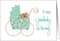 New Grandbaby on the Way, Bear in Mint Green Floral Stroller card