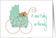 New Baby on the Way, Bear in Mint Green Floral Stroller card