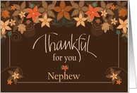 Thanksgiving for Nephew, Bear with Bow Tie & Pumpkin Balloon card