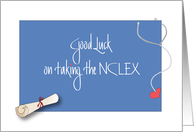Good Luck on the NCLEX Exam with Diploma and Stethoscope card