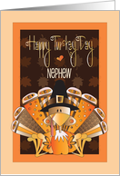 Thanksgiving for Nephew, Turkey Day Turkeys in Pilgrim Hats card