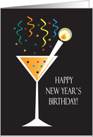 New Year's Day Birthday, Bubbling Drink with Drink Pick Candle card