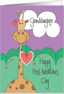 First Valentine's Day for Granddaughter, Giraffe, Heart and Bow card