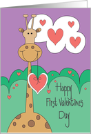 First Valentine's Day for Baby, Giraffe with Hearts card