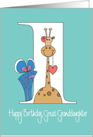 1st Birthday for Great Granddaughter, Giraffe with Heart & Gift card