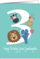 Birthday for Great Granddaughter, Zoo Animals and Large 3 card
