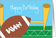 Birthday for Football Player or Fan, Football and Goalpost card