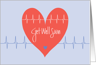 Get Well Soon after Heart Surgery, Heart and Heart Waves card