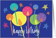 Birthday with Brilliant Candles & Stars, Happy, Happy, Happy card