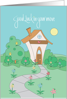 Good Luck in Your Move, Cottage in Sunlight, Shrubs & Flowers card