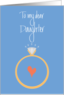 Daughter Engagement Congratulations, Diamond Ring & Heart card