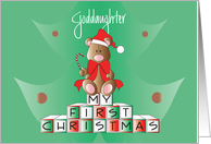 First Christmas Goddaughter, Bear on Blocks with Santa Hat card