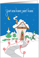 First Christmas in New Home, Decorated Cottage in Snow card