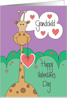 Valentine's Day for Grandchild, Giraffe with Hanging Heart card