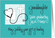 Granddaughter Graduation Nursing School, Cross & Stethoscope card