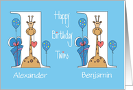 First Birthday for Twins, Two Boys with Giraffes, Balloons & Gifts card