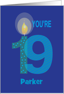Birthday for 19 Year Old, Personalized, Large Numbers & Candle card