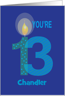 Birthday for 13 Year Old, Personalized, Large Numbers & Candle card