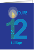 Birthday for 12 Year Old, Personalized, Large Numbers & Candle card