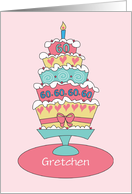Birthday 60 Year Old Custom Personalized Name Stacked Cake card