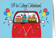 Invitation to Off the College Celebration, Loaded Car with Balloons card