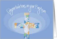 Baptism Congratulations for Adult, Stained Glass Cross card