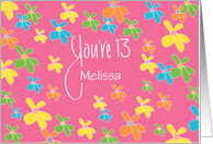 Birthday for 13 Year Old Girl, Custom Name with Bright Flowers card
