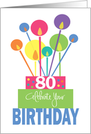 Birthday for 80 Year Old, Tall Thin Candles of Bright Stacked Cake card