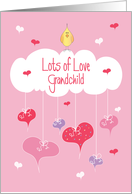 Valentine's Day for Grandchild, Tiny Bird with Heart Display card