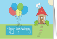 Home Anniversary from Realtor, Custom Year, Home & Balloons card