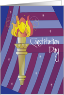 Constitution Day, American Flag and Statue of Liberty Torch card