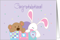 Couple Congratulations on Legal Guardianship, Bunny & Bear card