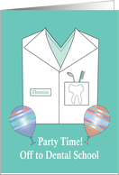 Invitation Off to Dental School Party, Shirt, Toothbrush & Balloons card
