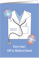 Invitation Off to Medical School Party, Shirt, Stethoscope & Balloons card