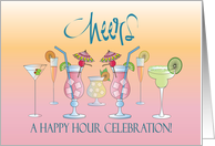 Invitation to Happy Hour Celebration with Colorful Cocktails card