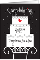 Wedding for Daughter & Son in Law, Tiered Cake with Heart card