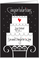 Wedding for Son & Daughter in Law, Tiered Cake on Stand & Heart card