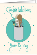 Retirement for Beautician, Beautician Supplies, Scissors & Brush card