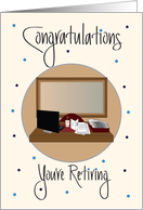 Retirement for Administrative Assistant, Desk Scene & Latte Cup card
